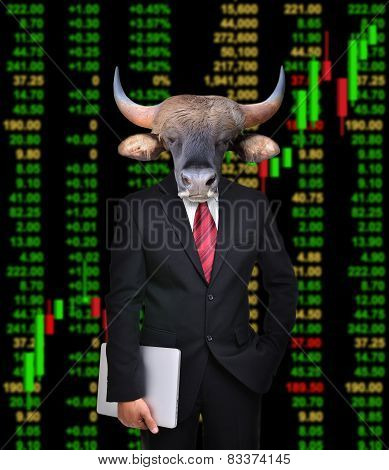 business man with bull head in tock investment concept poster