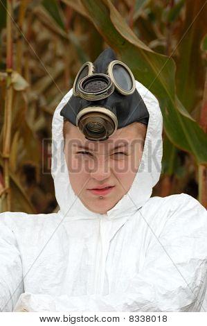 Punk Girl In A Poluted Corn Field