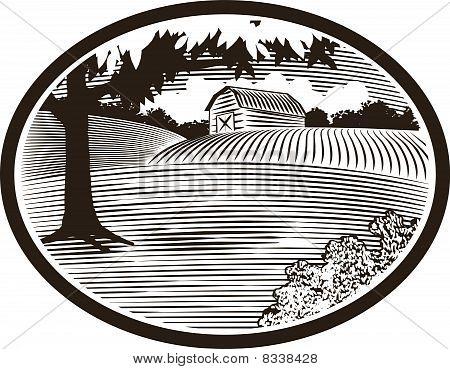 Woodcut With Barn Scene