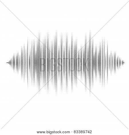Waveform background isolated. Black and white halftone vector sound waves. You can use in club, radi