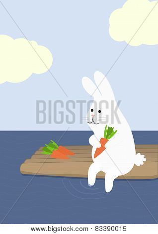 rabbit with carrot on a raft