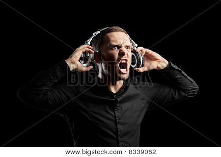 A view of a man with headphones
