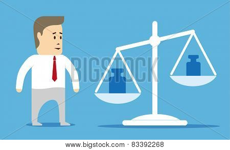 Comparison values. Character businessman looking at the scales