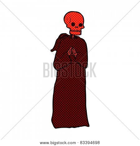 retro comic book style cartoon spooky skeleton in robe