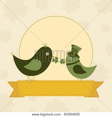 Cute bird couple in leprechaun hats, holding shamrock leaves in their beak on vintage seamless background.
