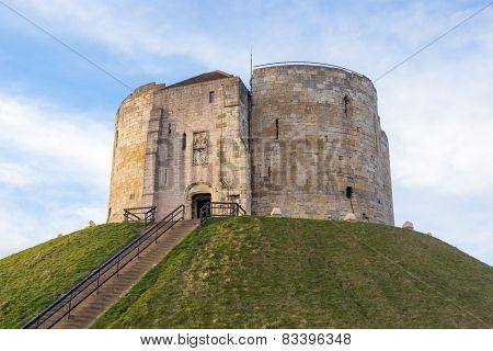 Clifford's Tower, the inner keep and all that remains of the original York Castle, built by William the Conqueror in the 11th Century
