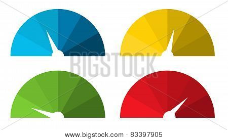 Collection Of 4 Isolated Colorful Speedometers