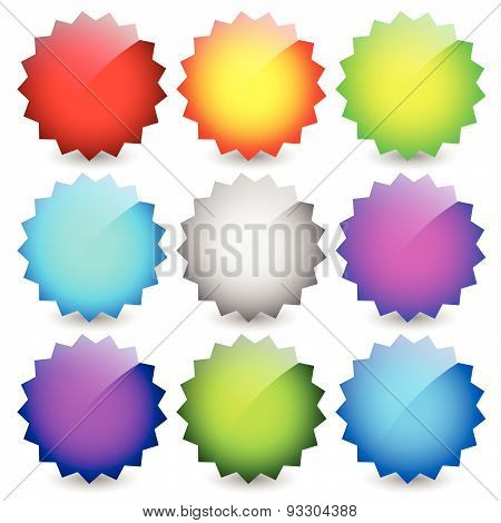 Blank starburst shapes price flashes. Set of 9 colors. poster