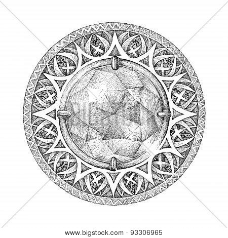 Mandala With A Brilliant, Diamond Whith Patterns, Ornaments