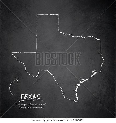 Texas map blackboard chalkboard vector