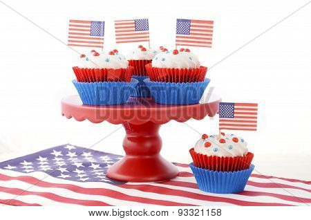Happy Fourth Of July Cupcakes On Red Stand