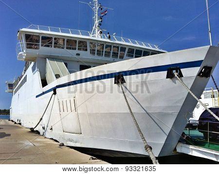 Big ferry boat in Supetar harbor, Croatia poster