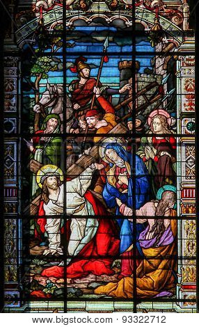 Jesus On The Via Dolorosa - Stained Glass In Malaga Cathedral