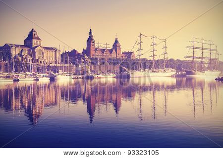 Vintage Style Sailing Ships At Sunrise In Szczecin.