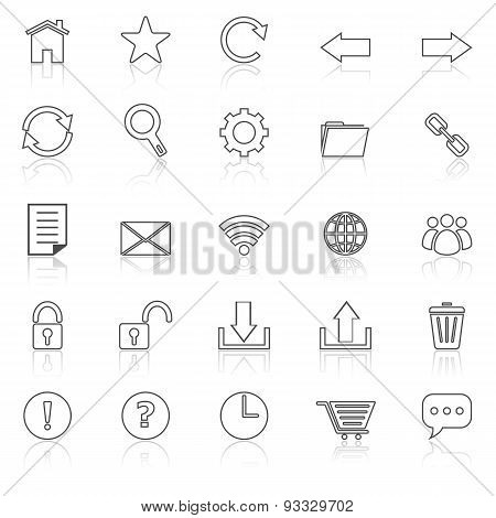 Tool Bar Line Icons With Reflect On White