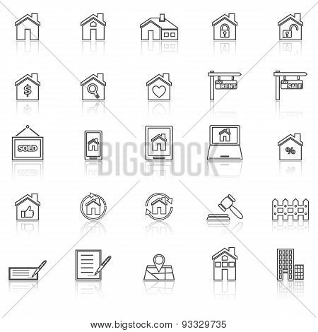 Real Estate Line Icons With Reflect On White