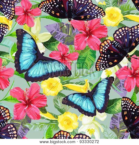 Tropical flowers and exotic butterflies.