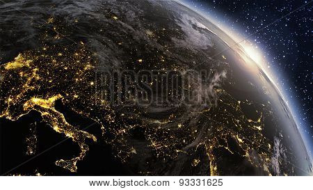 Highly Detailed. 3D Render Using Satellite Imagery (nasa). Planet Earth Europe Zone With Night Time
