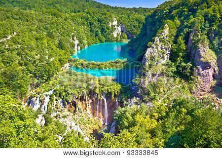 Paradise waterfalls of Plitvice lakes national park panoramic view Croatia poster