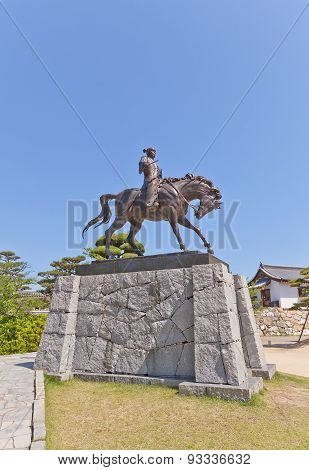 Statue Of Todo Takatora In Imabari Castle, Japan
