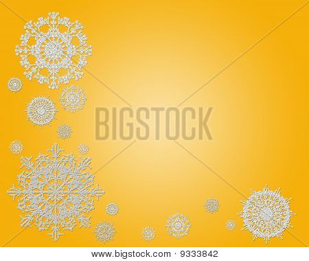 Snowflakes On Gold Background