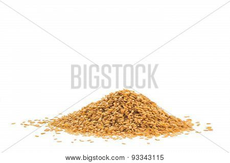 Pile Of Golden Flax Seed Or Linseed Isolated On White Background