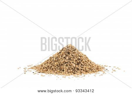 Pile Of Sesame Or Til Seeds Isolated On White Background