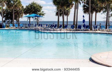 Empty Pool By Ocean