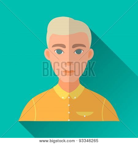 Young Blonde Hipster Man In Yellow Shirt, Square Flat Icon
