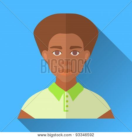 Young Fashionable Hipster African American Man, Square Flat Icon