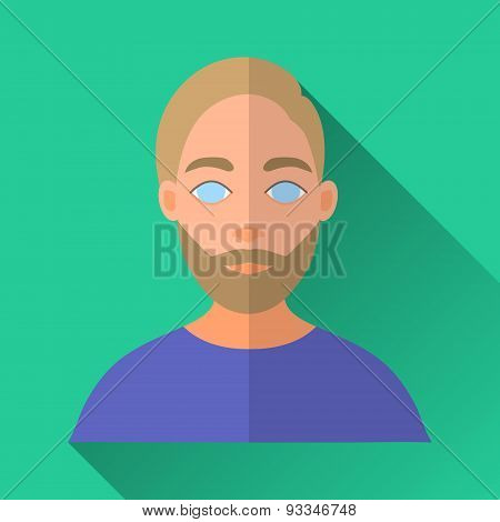 Hipster Man With Beard And Moustache, Square Flat Icon