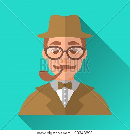 Hipster Man With Moustache And Pipe In Glasses And Suit, Square Flat Icon