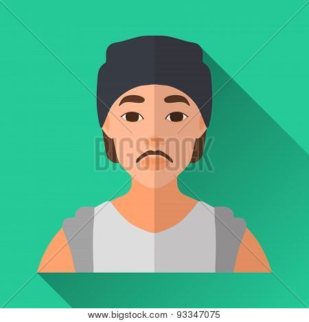 Fashionable Asian Hipster Man, Square Flat Icon