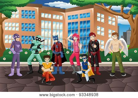 A vector illustration of people in cosplay costume poster