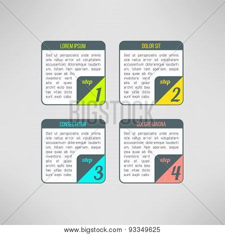 Vector business process steps infographic elements. Tutorial, instruction or presentation colorful b