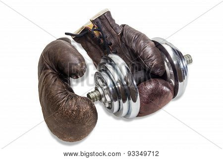 Sports dumbbell consisting of discs of different weights and an old brown leather boxing gloves. Isolation on a light background. poster