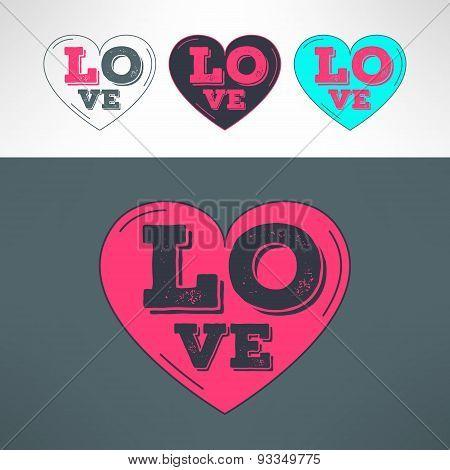 Vector hearts set for tshirt print design. Love grunged text inside heart