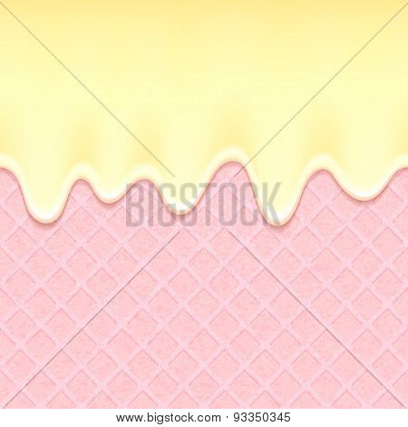 Pink wafer and flowing cream - vector background.