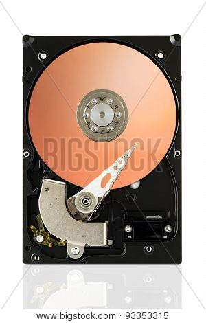 Orange Harddisk Drive On White Isolated Background With Clipping Path.