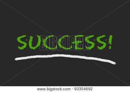 Success Green Script On A Black Blackboard