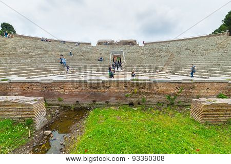 Tourism In The Old Town Of Ostia, Rome, Italy