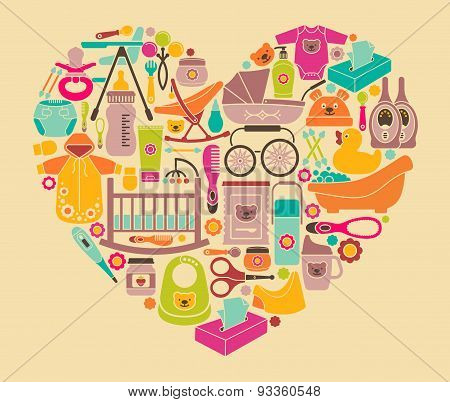 Icons of products for newborns in the form of a heart