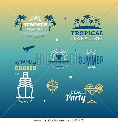 Set Of Vector Design Elements. Retro Summer Holidays Vintage Labels