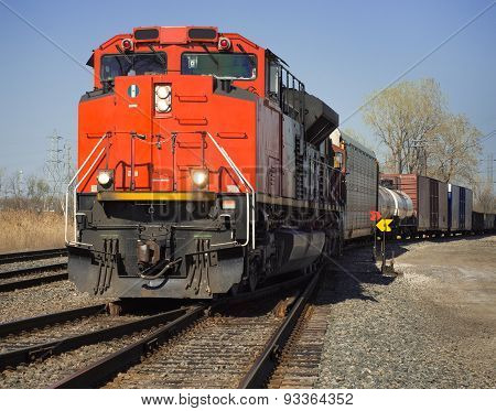 Cn Freight Train From Detroit Tunnel