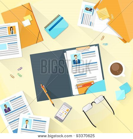 Human Resouce Working Place Desk Documents Curriculum Vitae