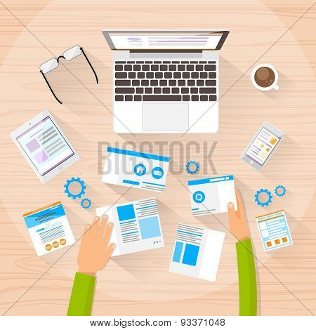 Web Designer Work Space Development Create Design Site