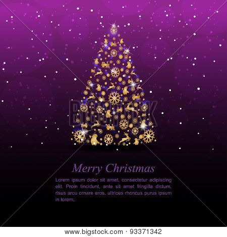 Christmas tree on the purple background