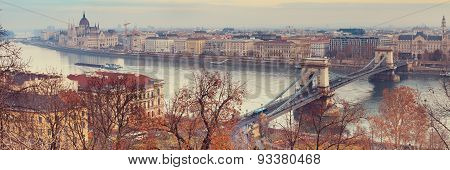 View of Budapest over Chain Bridge from Buda Castle poster