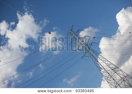 Farther diagonal powerline with blue sky and clouds poster