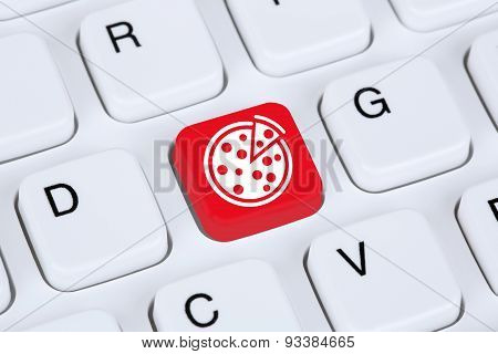 Ordering pizza online food order delivery fastfood internet on computer poster